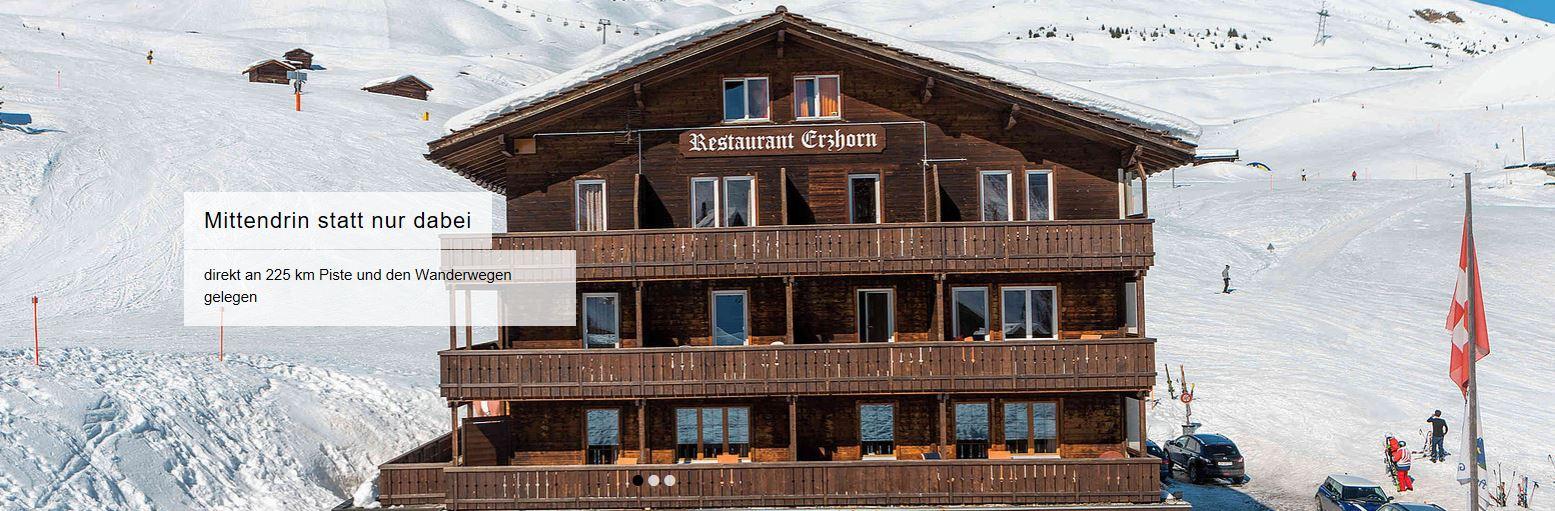 skihotel auf der piste graubünden